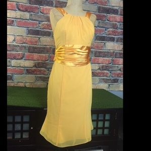 Golden yellow sleeveless dress by David's bridal